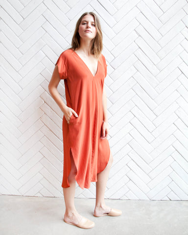 KATE SILK DRESS - TOMATO