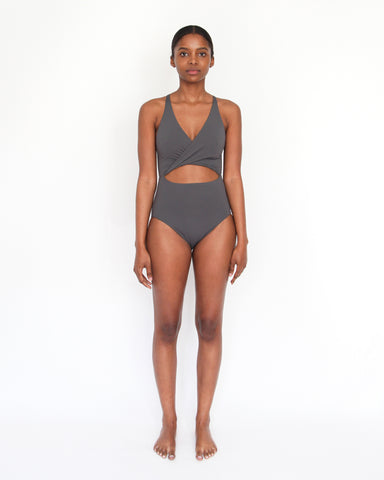 MARIA CUT OUT ONE-PIECE - SLATE