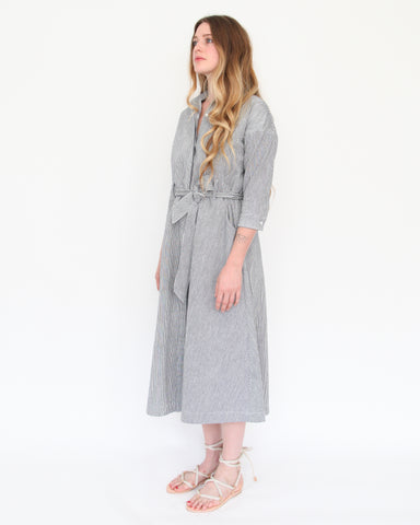 MABEL SHIRT DRESS - INDIGO STRIPE