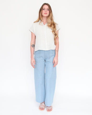 STELLA SLEEVELESS BUTTON DOWN - SEA SALT