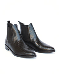 FREDA SALVADOR - SLEEK BOOT - BLACK EMBOSSED CROC
