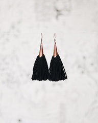 FIBROUS - MAGGIE TASSEL EARRINGS - BLACK