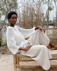 LUCY LINEN SWEATER - WHITE SAND