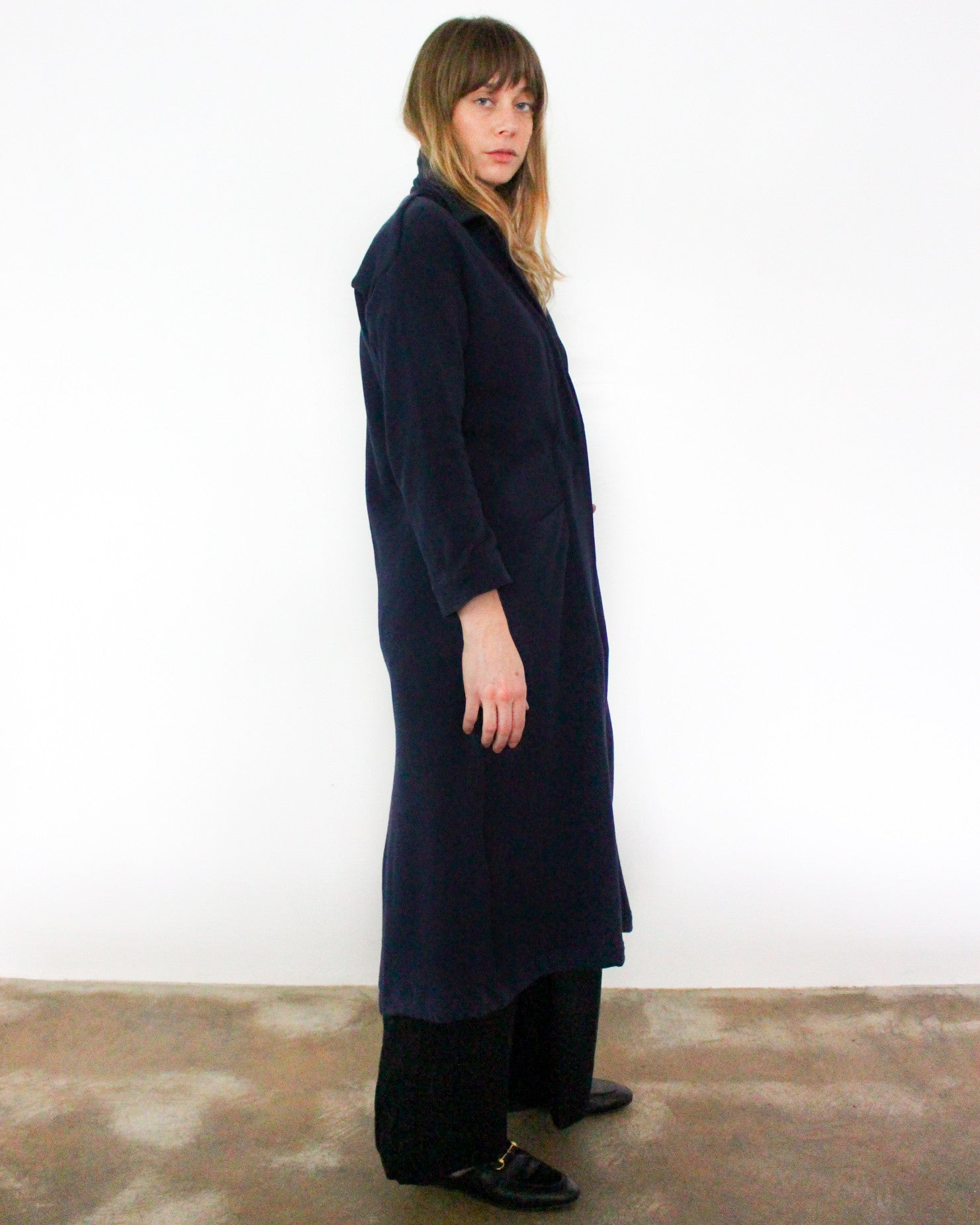 navy blue cotton knit duster