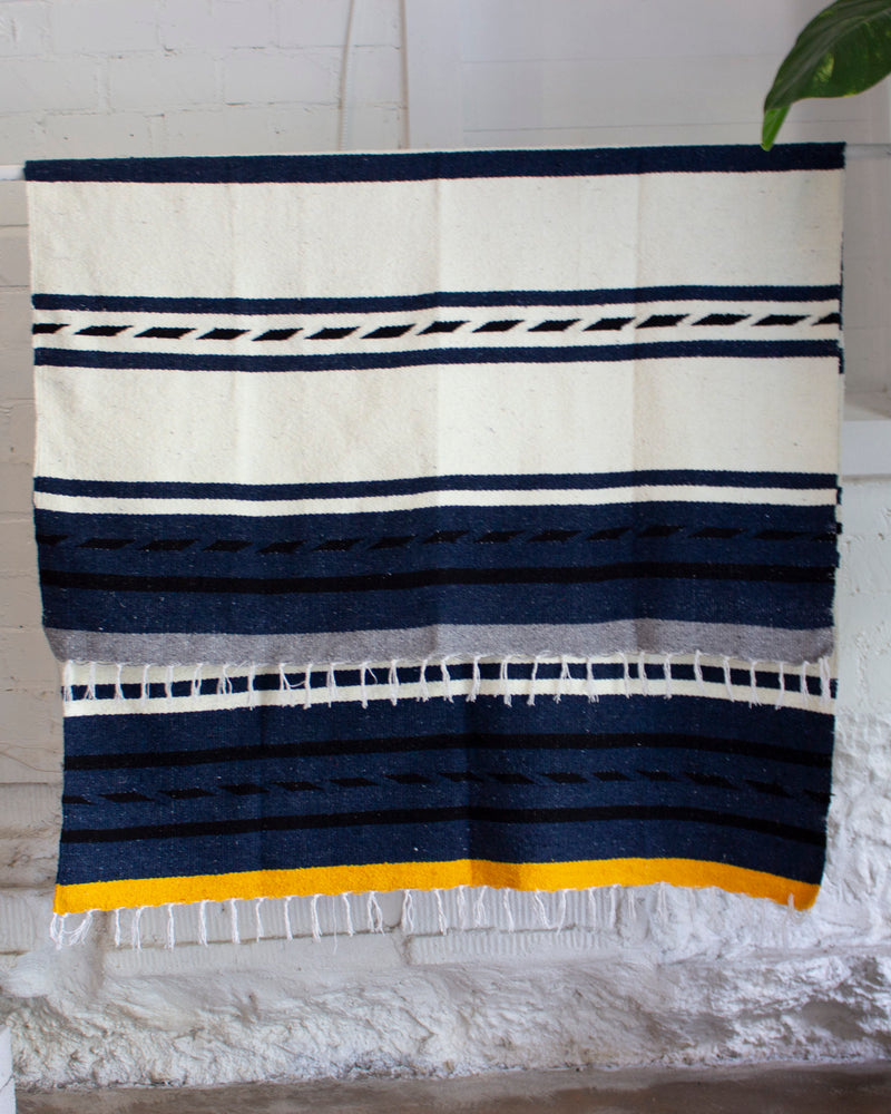 Load image into Gallery viewer, NIPOMO + ESBY RECYCLED BLANKET - INDIGO STRIPE