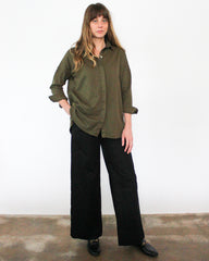 olive green long sleeve button down