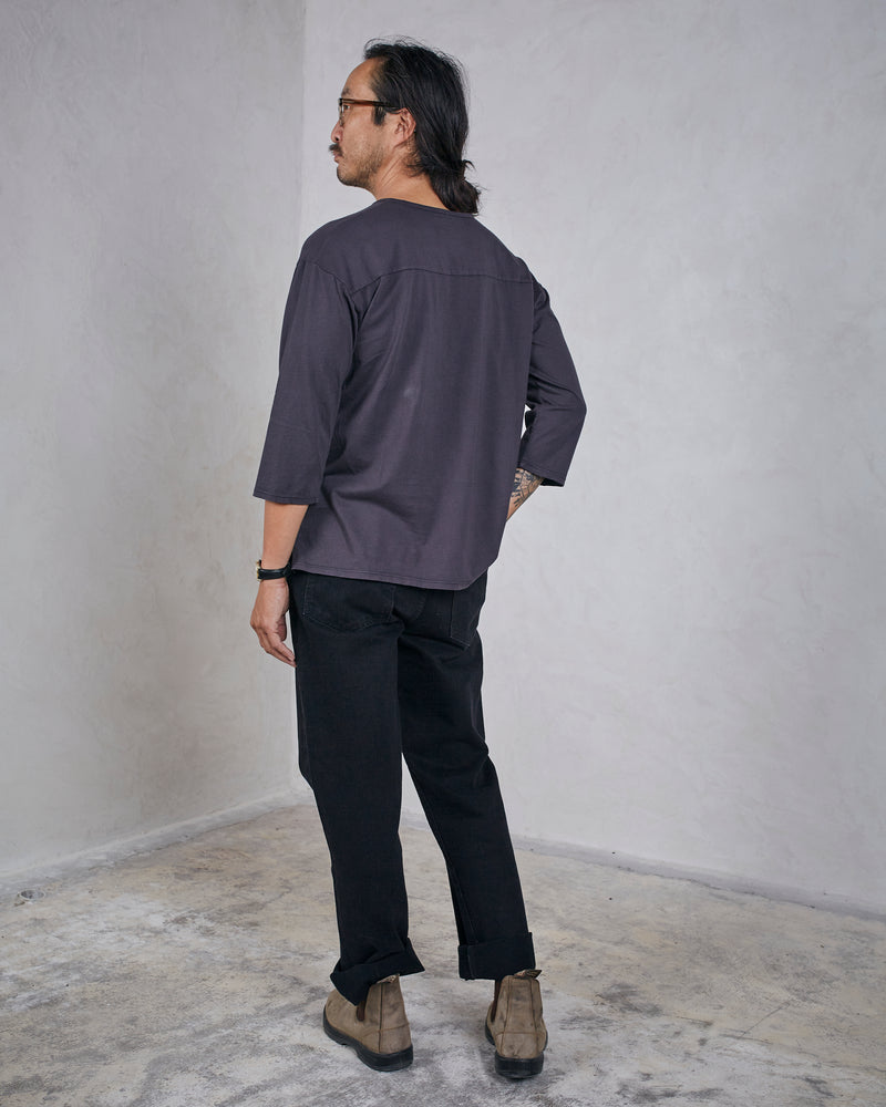 Load image into Gallery viewer, DAVIS 3/4 SLEEVE HENLEY - WASHED BLACK