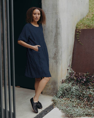 AGNES DRESS - INDIGO STRIPE
