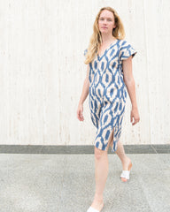 ANNIE DRESS - BLUSH/BLUE IKAT