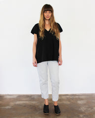 black oversized cotton top