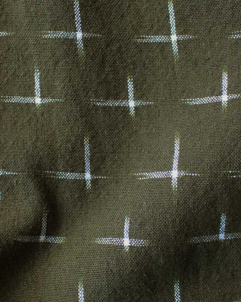 olive green cotton indian ikat