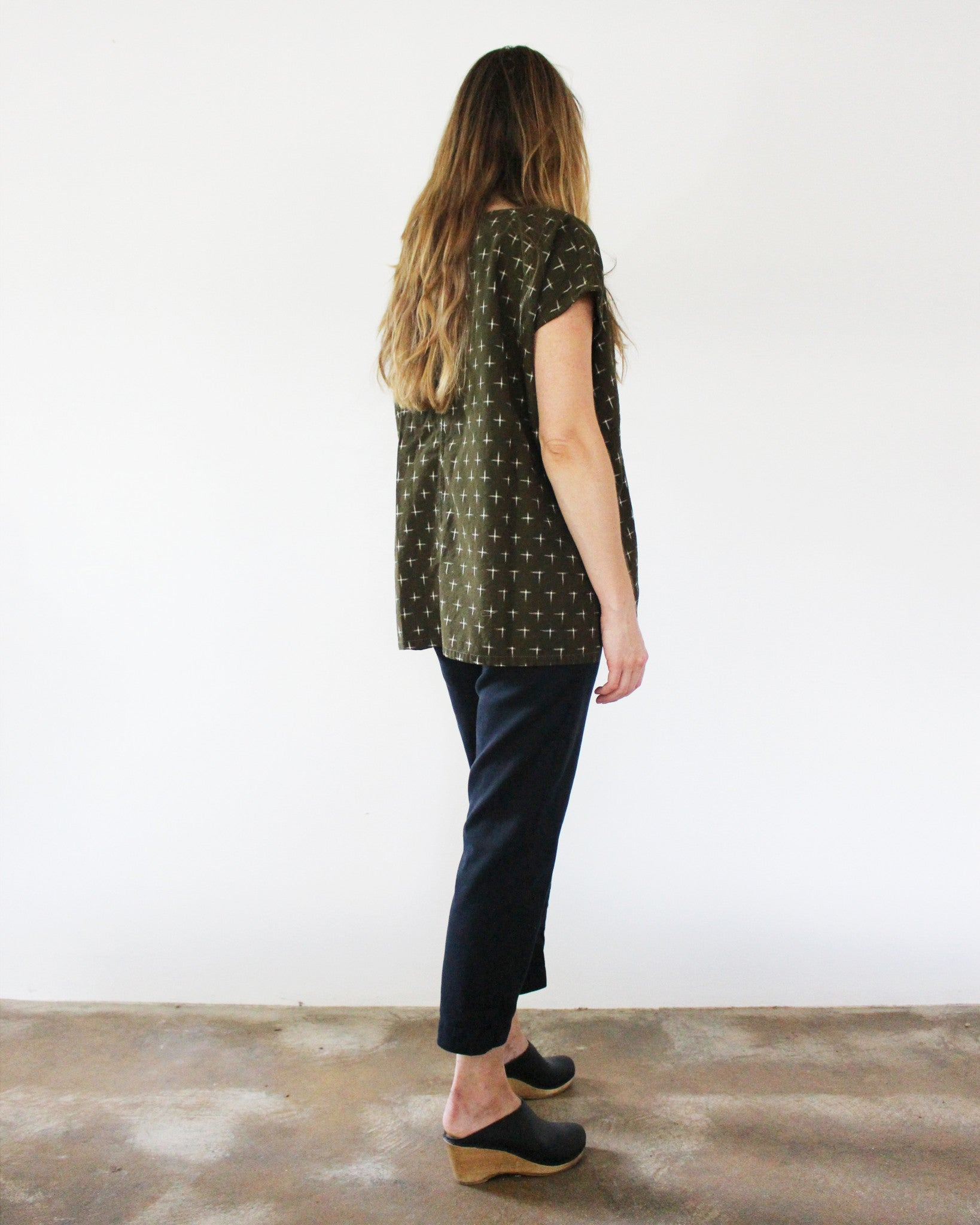 olive green oversized cotton ikat top