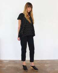 black oversized cotton ikat top