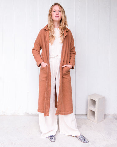 BARONNE LINEN DUSTER - CLAY