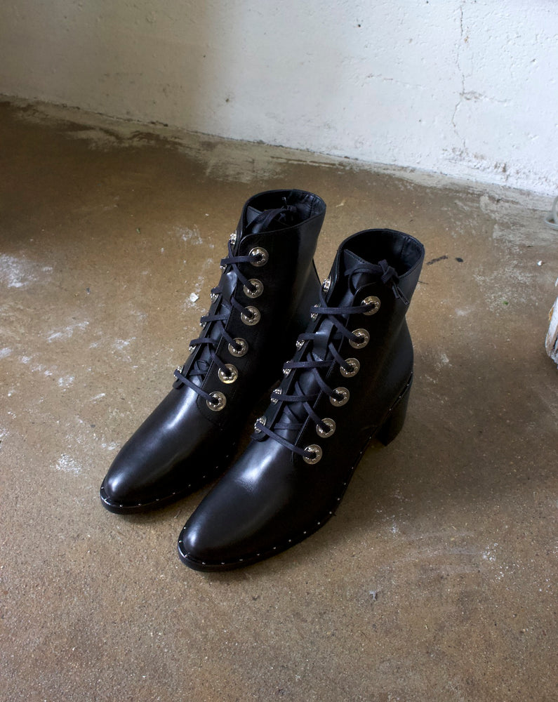 FREDA SALVADOR - ACE BOOT - BLACK CALFSKIN W/ HARDWARE