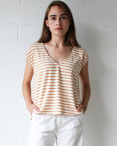 EVIE OVERSIZED TOP - BURNT ORANGE STRIPE