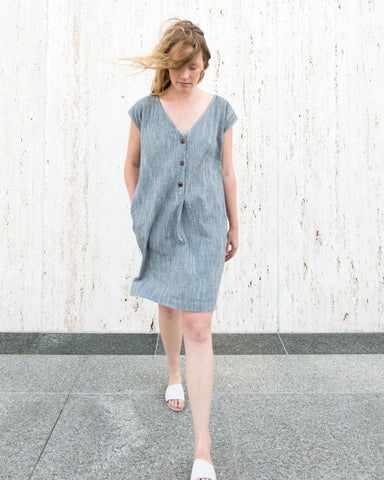 CAROLINE SHIFT DRESS - SALT & PEPPER