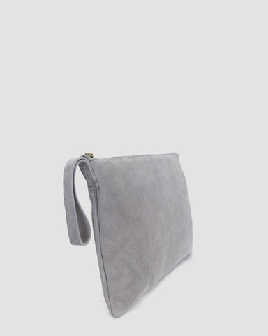 ESBY CLUTCH - SKY GREY SUEDE
