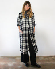 plaid button down cotton shirt dress