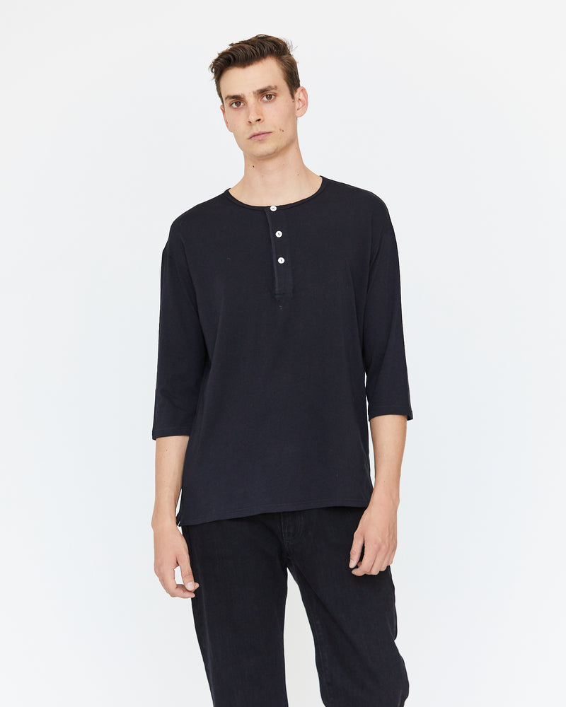 DAVIS 3/4 HENLEY - MIDNIGHT