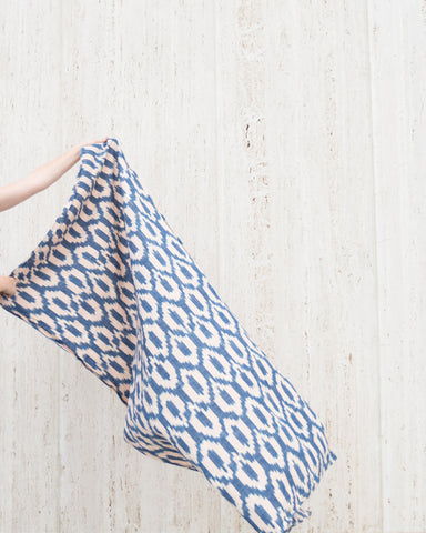 DECK TOWEL - BLUE/BLUSH IKAT