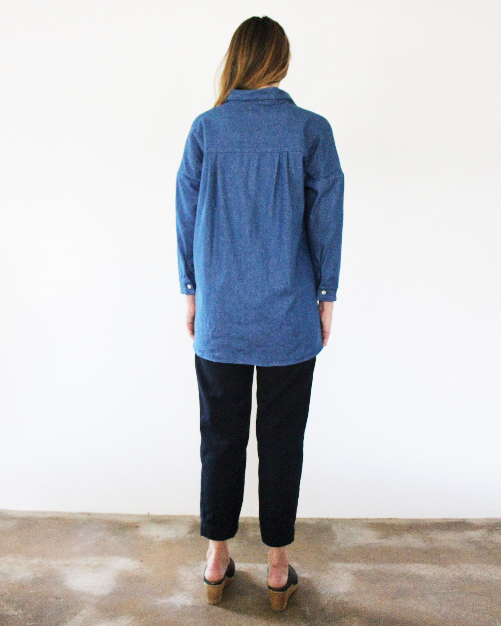 denim long sleeve button down
