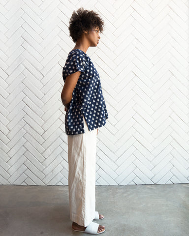 AVERY TOP - NAVY IKAT