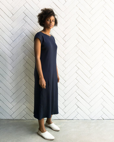 NATALIE RIB DRESS - NAVY