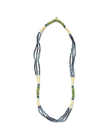FORTUNE MONTAGNARD BEAD NECKLACE - INDIGO/NAVY/JADE