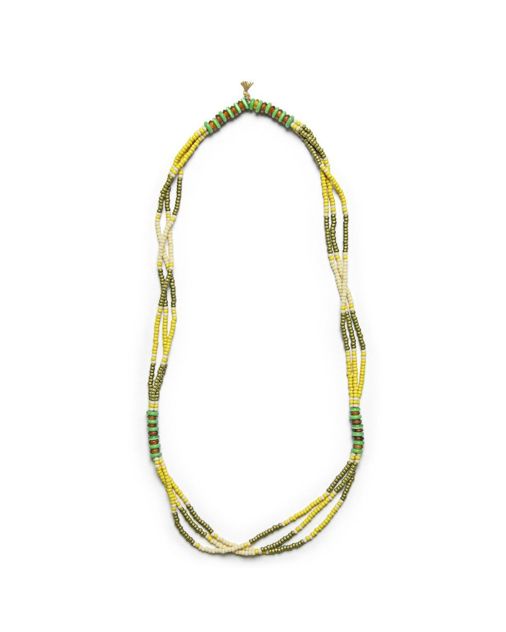 montagnard olive and jade beaded necklace