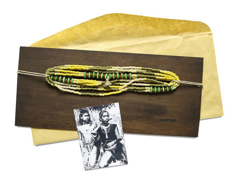 FORTUNE MONTAGNARD BEAD NECKLACE - MAIZE/OLIVE/JADE