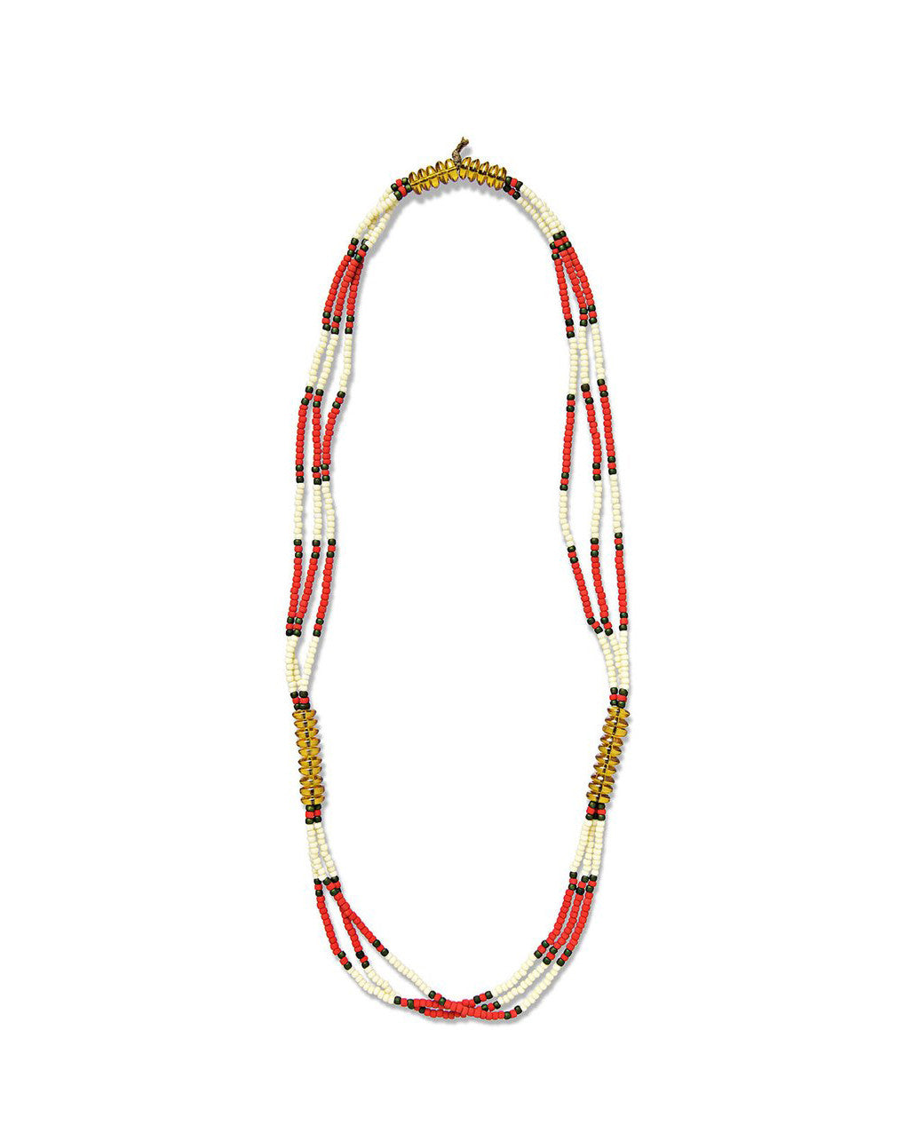 fortune goods vietnam montagnard amber and red beaded necklace