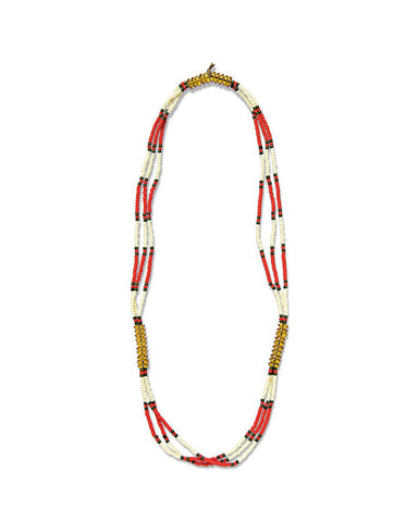 FORTUNE MONTAGNARD BEAD NECKLACE - CREAM/RED/AMBER