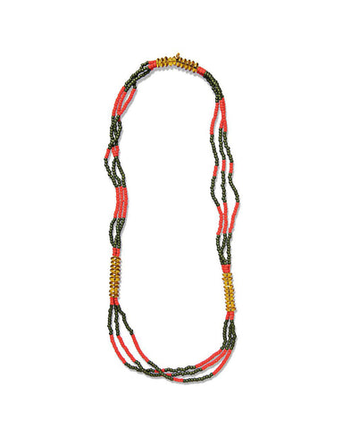 FORTUNE MONTAGNARD BEAD NECKLACE - OLIVE/RED/AMBER