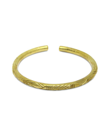 FORTUNE THICK CARVED BRACELET - MEDIUM/BRASS
