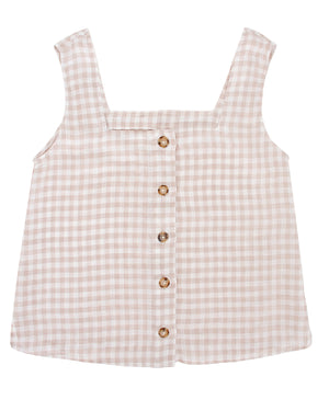 GINA TOP - CAFE GINGHAM - PREORDER