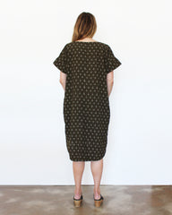 olive green oversized cotton ikat dress