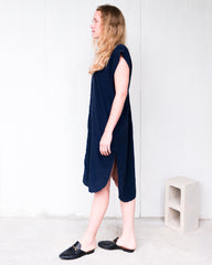 navy blue silk dress