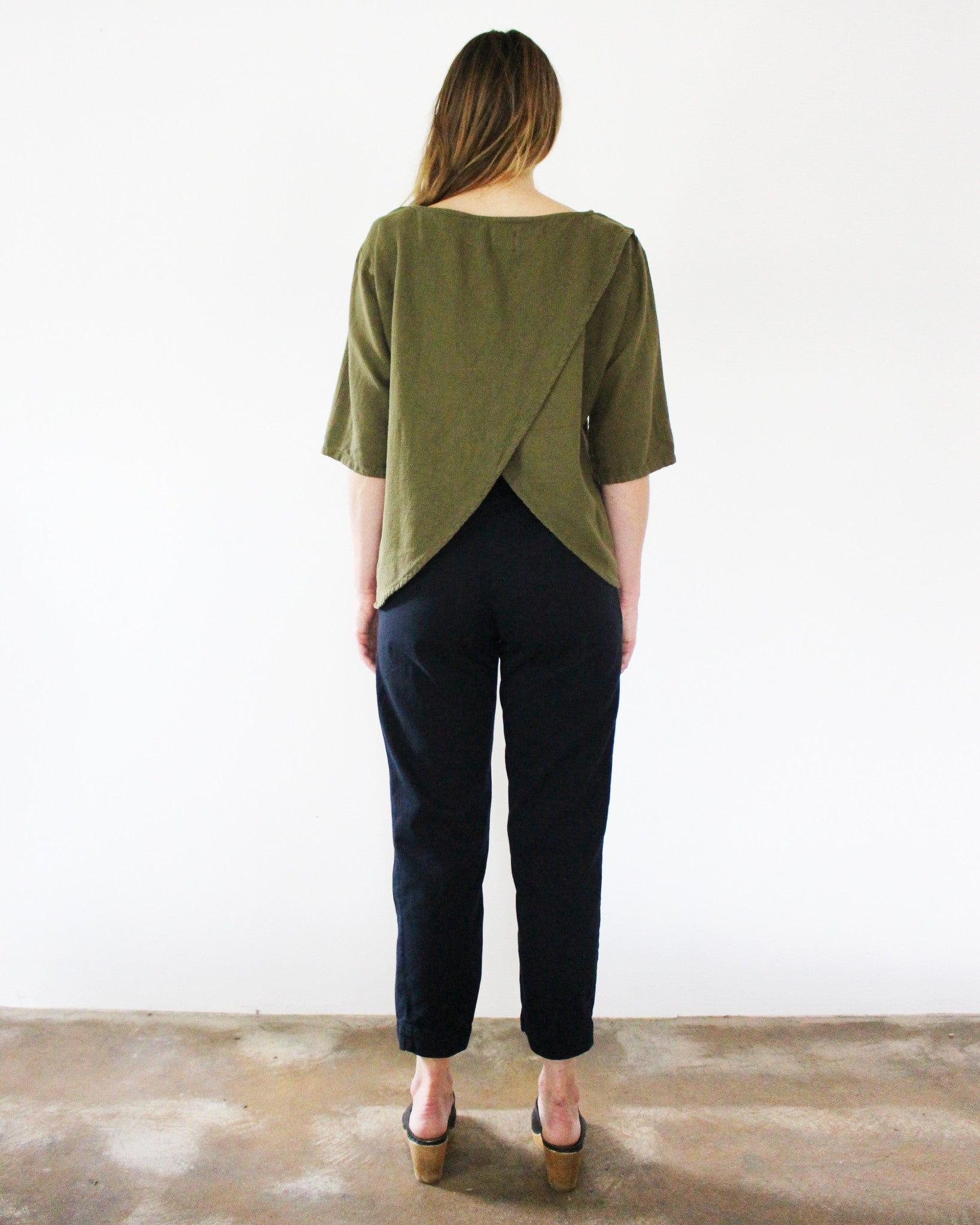 olive green open back top