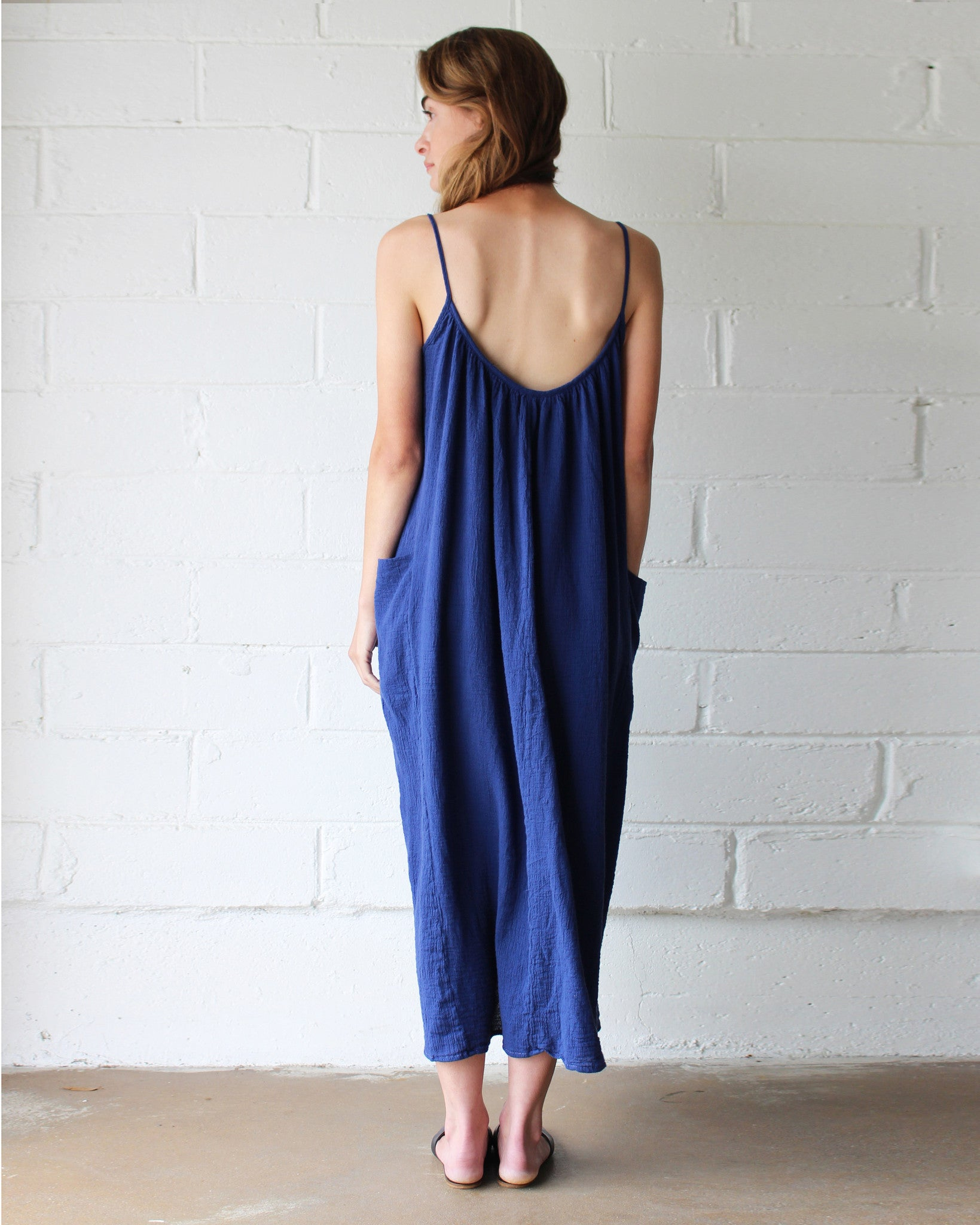 blue cotton slip dress