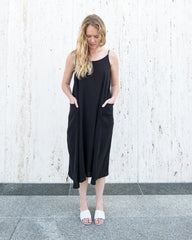 LYLA SLIP DRESS - BLACK