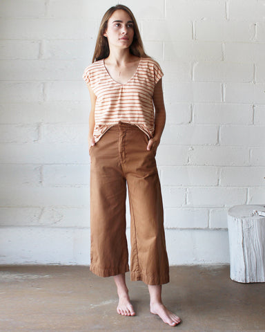 EVIE OVERSIZED TOP - BURNT ORANGE STRIPE/BLUSH
