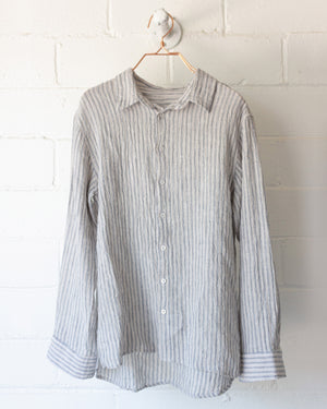 PERCY BUTTON DOWN - ASH STRIPE