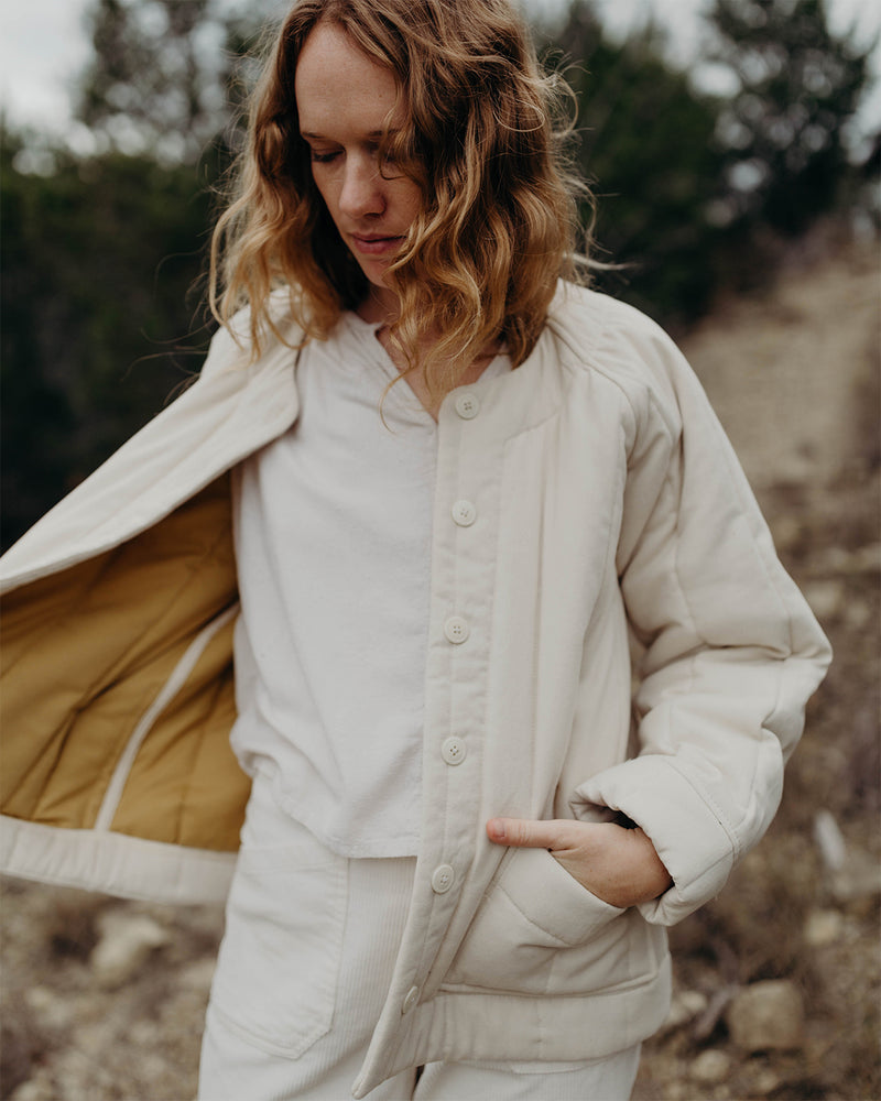 RAVEN QUILTED JACKET - IVORY