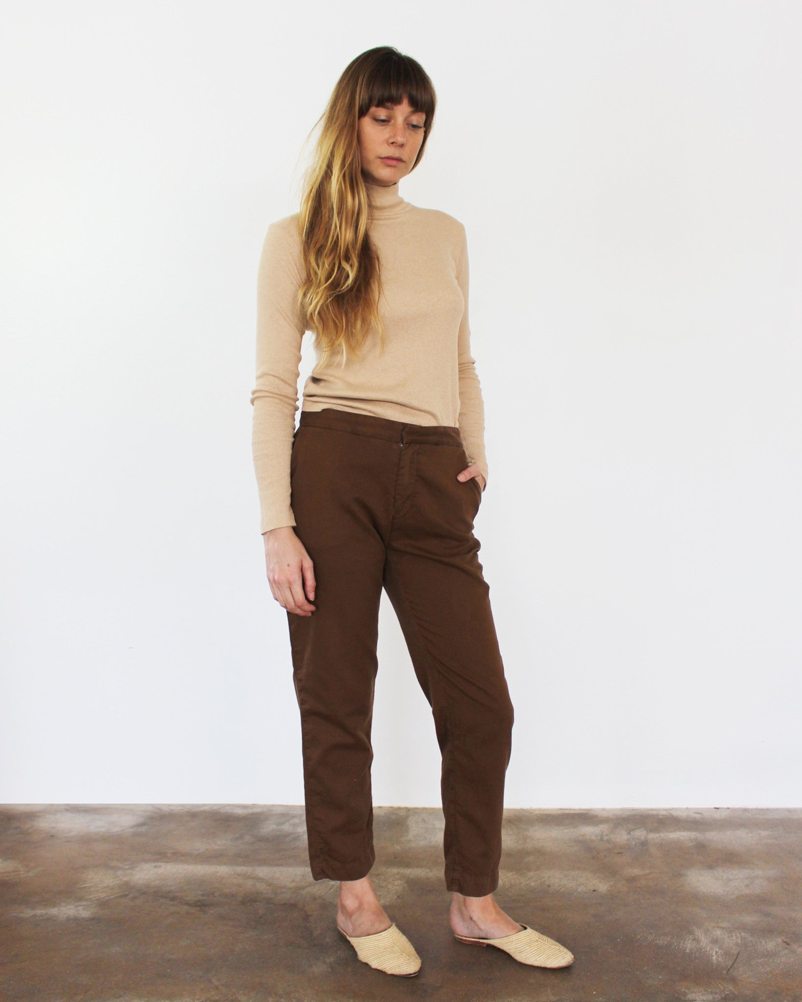 brown relaxed cropped twill pants