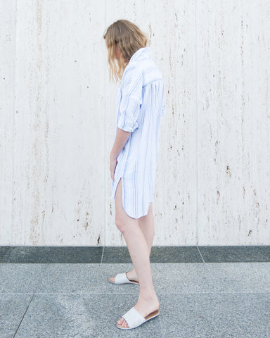 SARA STRIPED TUNIC - WHITE/NAVY