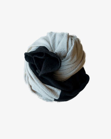 COLORBLOCK LARGE SCARF - IVORY/BLACK