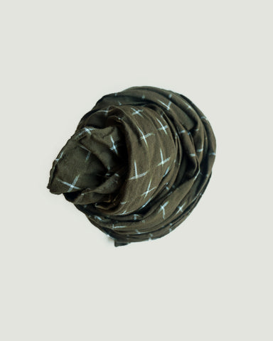 IKAT SMALL SCARF -  OLIVE/CREAM