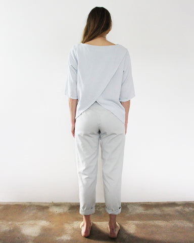 LAURA OPEN BACK TOP - SKY GREY