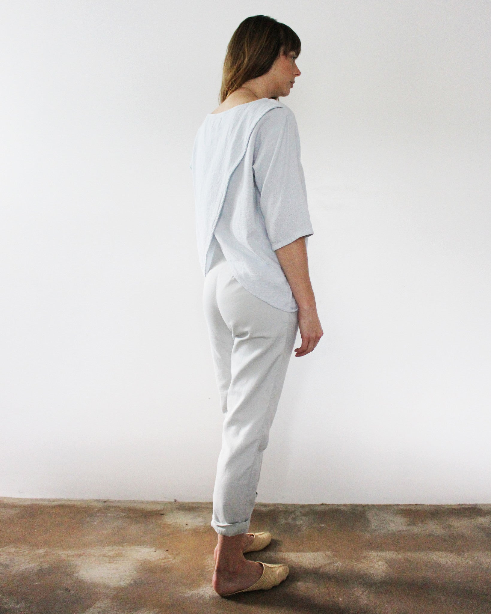 light grey open back cotton top